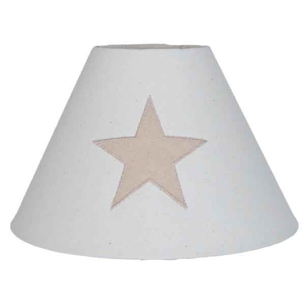 Lampenschirm beige Stern Baumwolle 25 x 16 cm Clayre & Eef 6LAK0350 E27