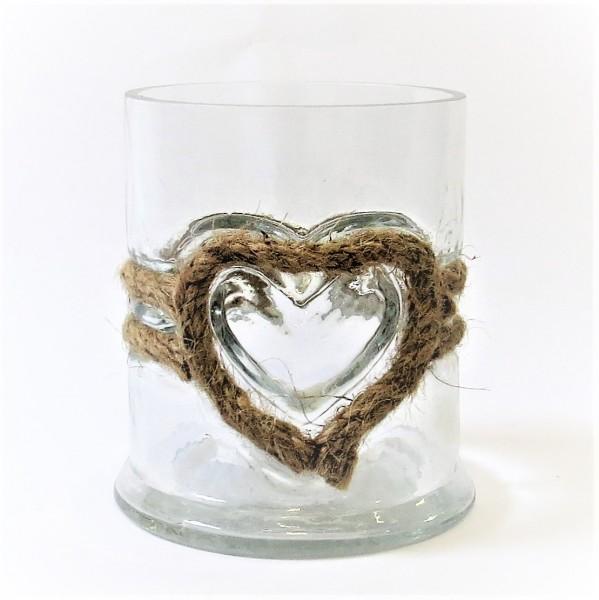 Riviera Maison Windlicht Teelicht Glas Jute rustikal natur Rustic Rope Votive Heart