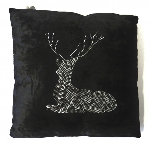 Kissen Hirsch Schwarz Strasssteine Samt Weihnachten Peri Design 45 x 45 cm