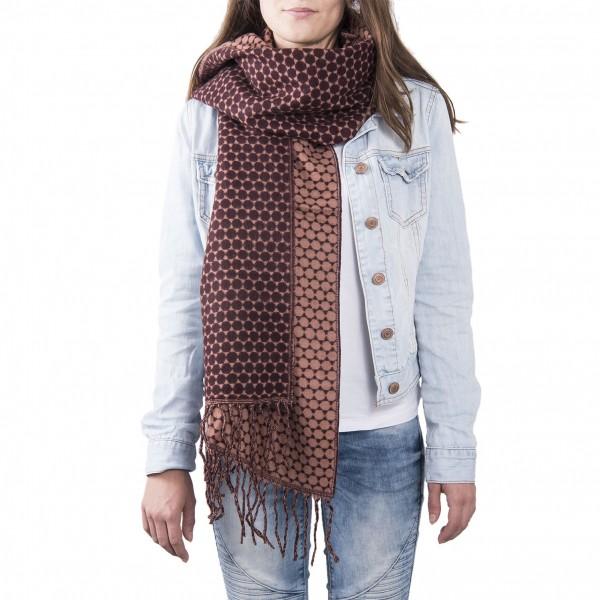 Schal Tuch Punkte Hippie 65 x 180 cm bordeauxfarben Clayre & Eef JZSC0363R