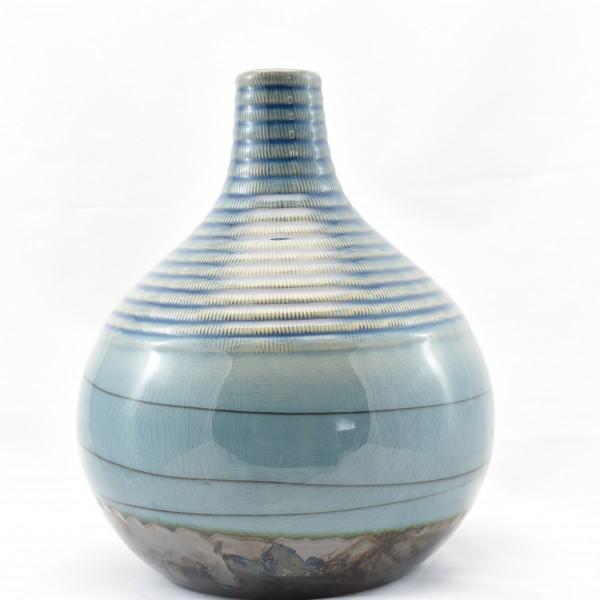 Vase Spiralvase Tisch Deko Retro Pastellblau Hippie 27 cm