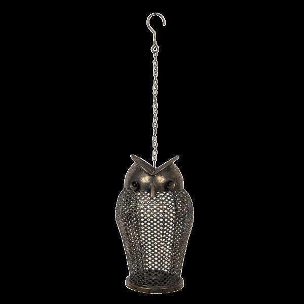Laterne Kerzenhalter Teelicht Metall Eule Hängend Clayre & Eef 19 x 34 cm