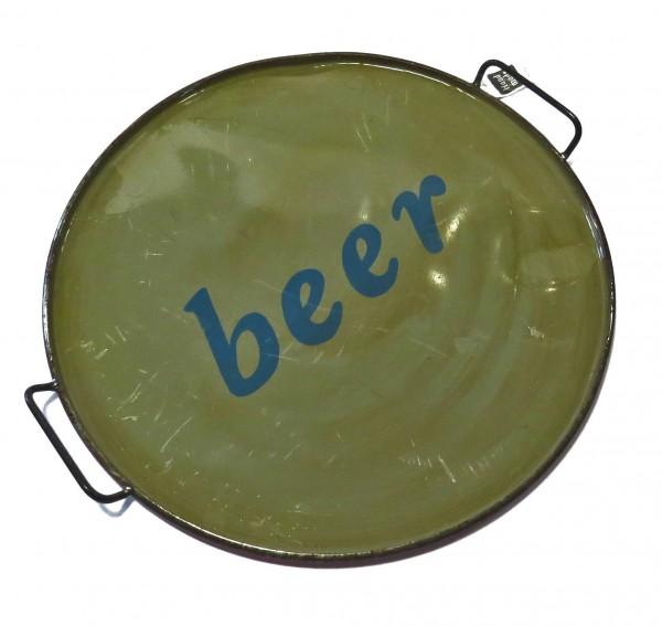 Untersetzer Platte Teller Deko Retro Metall Beer Handarbeit Varios XL 62 cm