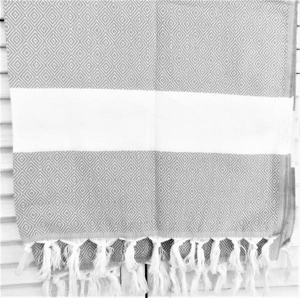 Eigen & Anders Tischdecke Tischläufer Baumwolle weiß grau 100 x 180 cm