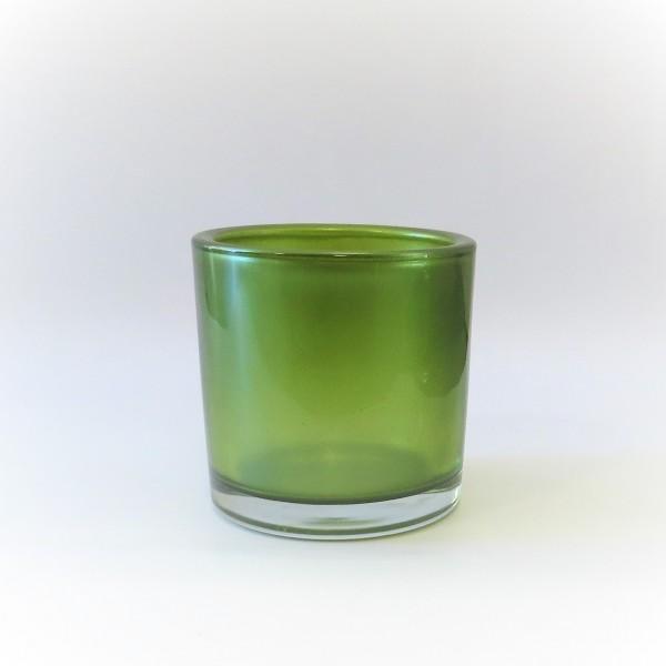 Teelichthalter Windlicht Grün Metallic Modern Glas 6x6,5cm