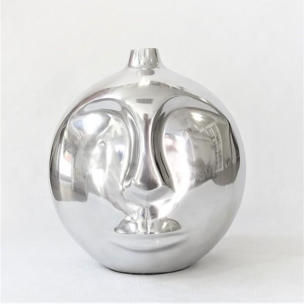 Vase Tischvase mit Gesicht Aluminium poliert modern rund Bob 28 cm