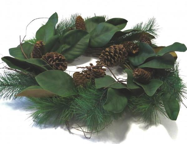 Adventskranz Grün Natur Natürlich mit Tannenzapfen Tisch Deko Weihnachten Exner GmbH 55 cm