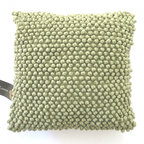 Kissen Deko Sofa Zier Tea Green Pompons Mini Bergen Linen & More 45x45 cm
