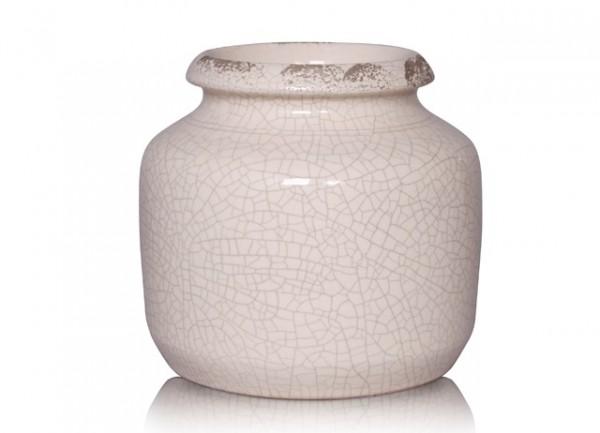 Deko Vase Blumen Shabby Antik Pastell Creme Keramik Bauchig Gina Da Garten 18x20 cm