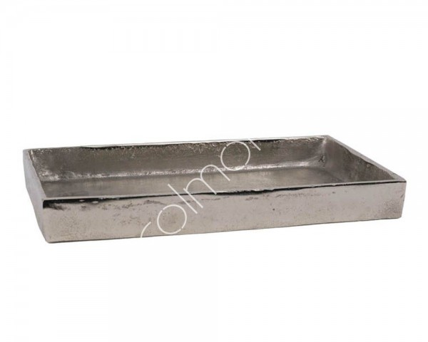 Schale Deko Teller Silber Modern Rechteckig Metall Colmore Tisch 46 cm XL