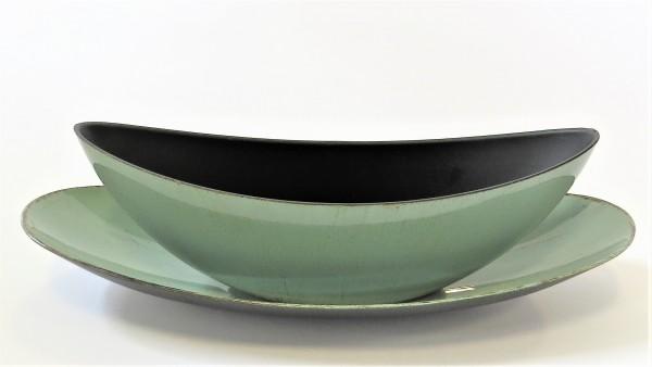 Schale Dekoschale Kunststoffschale 2er SET mint grün Länglich