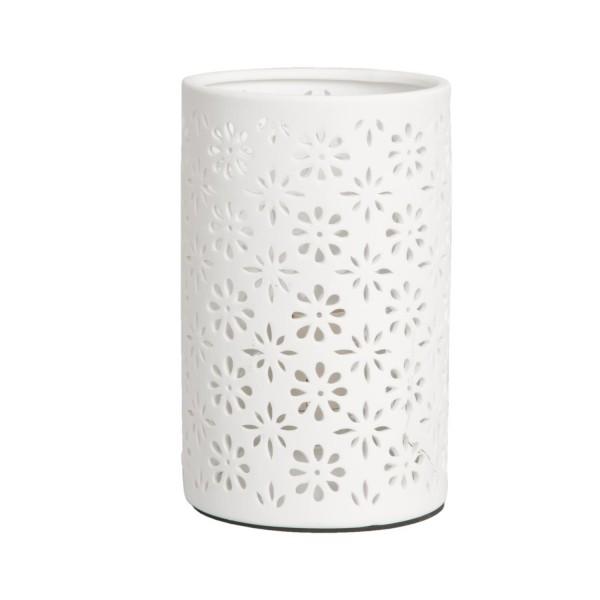 Tischlampe Lampe Tischleuchte weiß Keramik Ornament 20 x 12 cm 6LMP105 Clayre & Eef