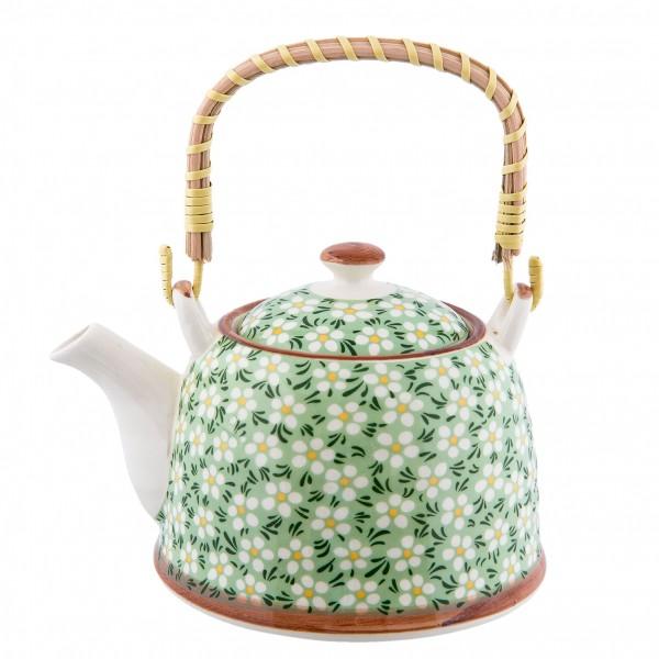 Teekanne Kanne Retro Design Grün Clayre & Eef Blumenmuster Keramik 14 x 14 cm