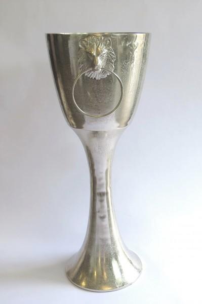 Weinkühler Sektkühler Eiseimer XL mit Fuß Säule mit Löwenmotiv Silber Massiv Henkel Colmore 65 cm