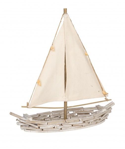 Deko Segelboot Holz Natur Muscheln Maritim Tisch Kunstgewerbe Gehlmann 26,5x9x28,5cm