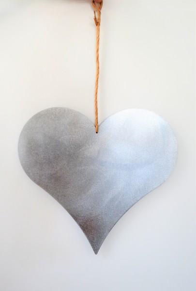 Dekoherz Herz mit Strick Zink silber 35 x 35 cm