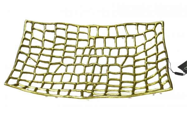 Schale Teller Gold Tisch Deko Modern Gitter Design Colmore Rechteckig 50 cm