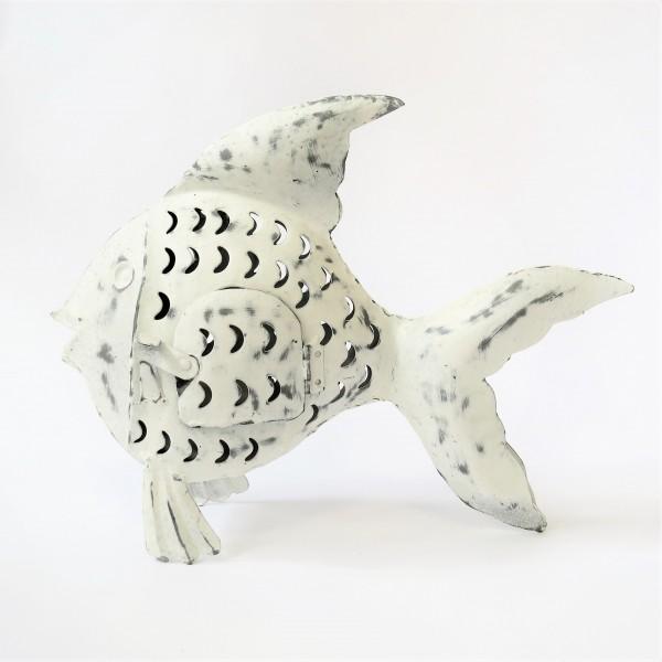Teelicht Dekofisch Metallfisch Blechfisch Cor Mulder weiß maritim 25,5 cm