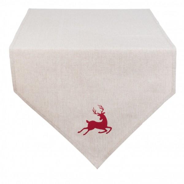 Tischläufer Tischdecke beige rot Hirsch 50 x 160 cm Baumwolle Clayre & Eef