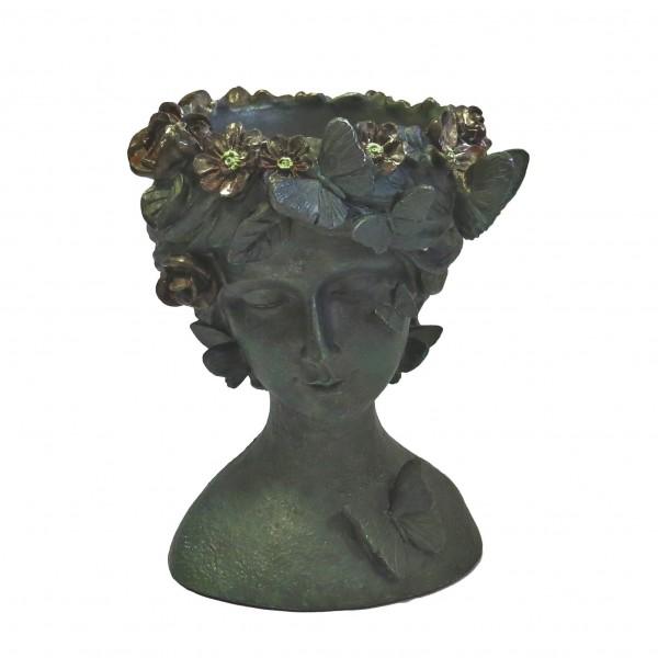 Übertopf Blumen Antik Skulptur Deko Frauenkopf Grün-Grau 23 cm