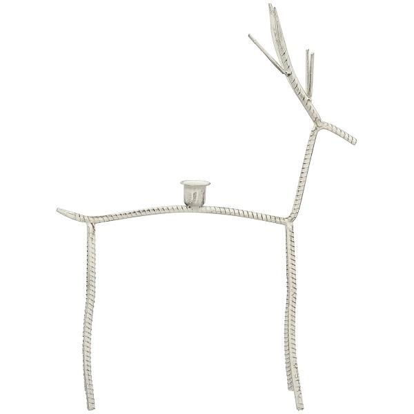Kerzenständer Hirsch Elch Weiß Metall Modern Weihnachten Exner Junker 43 cm