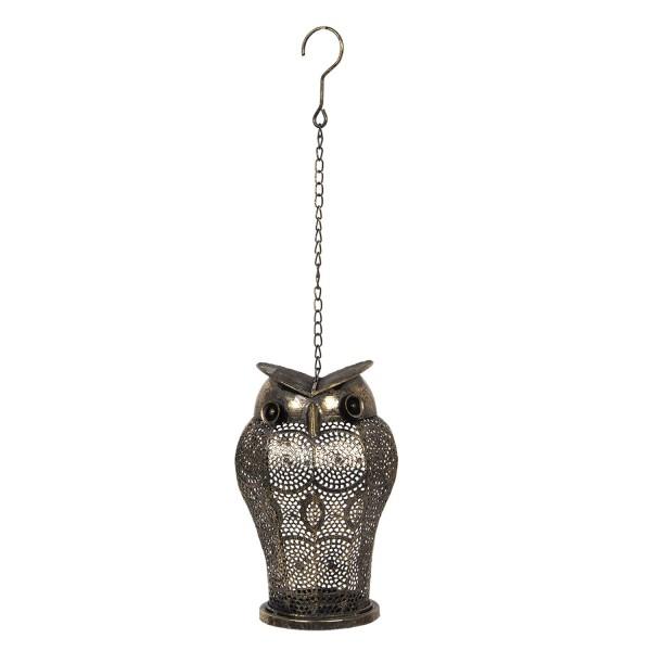 Laterne Kerzenhalter Teelicht Metall Eule Hängend Clayre & Eef 18 x 30 cm