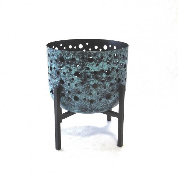 Teelichthalter Teelichtschale Kerzen Windlicht Schale auf Fuß Metall Industrie Stil 25,5 x 23 cm
