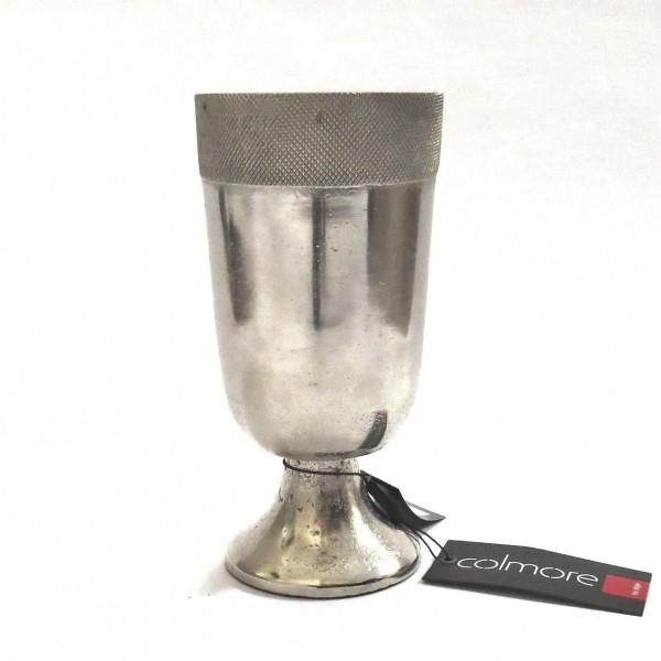Deko Vase Silber Metall Antik Retro Stil Tischvase auf Fuß 21 cm