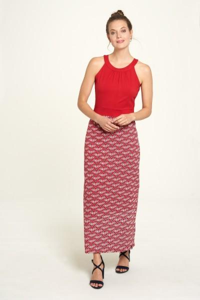 Sommer Kleid Rot Maxi Flower Print Hippie Neckholder Bio Baumwolle Tranquillo S 36