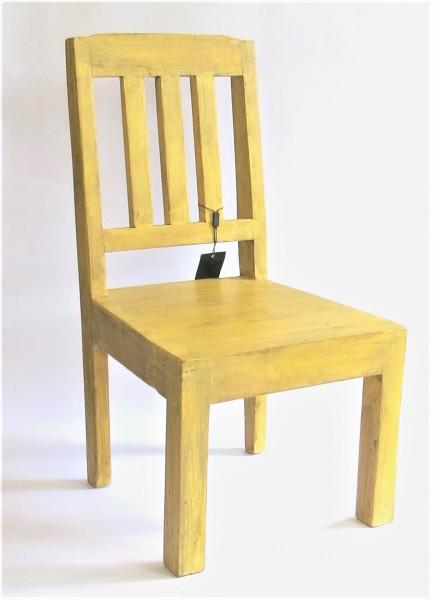 Stuhl Kinder Deko Holz Gelb Massiv Shabby 36x35x67 cm