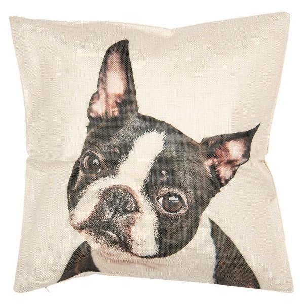 Kissen Dekokissen Hund Bulldogge Zierkissen Clayre & Eef 43 x 43 cm