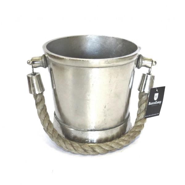 Sektkühler Eiseimer Champagne Industrie Stil Silber Metall Hazenkamp 21x21x25 cm