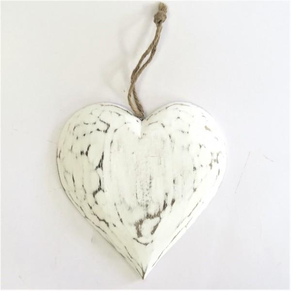 Holz Herz Hänger Weiß Shabby Deko Eingang Wand 20x20 cm