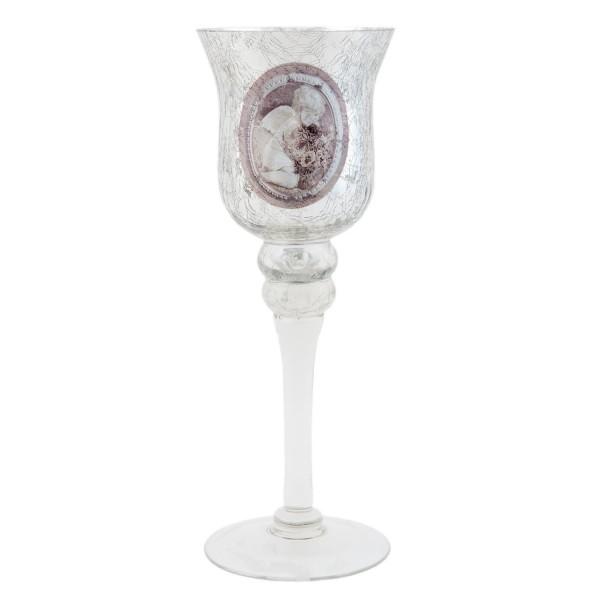 Teelichthalter Windlicht Clayre & Eef Glas silber GL1503 9 x 25 cm