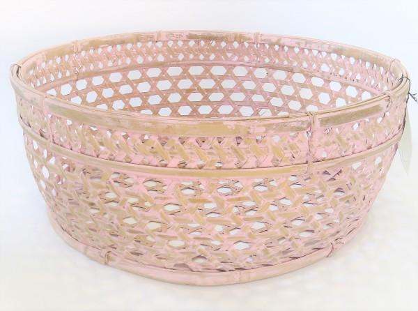 Korb Dekokorb Blumenkorb Rattan rund 50 cm shabby rosa pink Eigen en Anders Holland