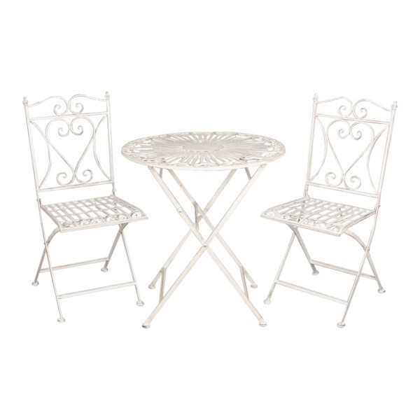 Clayre & Eef Tisch Gartentisch mit Stühle Metalltisch Landhaus weiß Eisen Garten 5Y0127 70*75 c