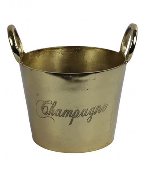 Champagner Eis Kübel Kühler Eimer Sekt Gold Metall Modern Massiv Decostar BV
