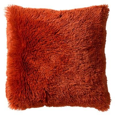 Kissen XL Zier Sofa Rost Braun Ton Samt Fluffy Langhaar 60 x 60 cm dutch decor