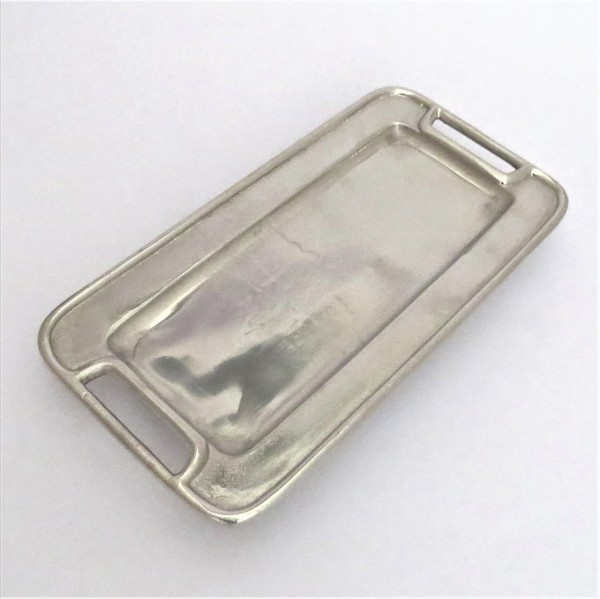 Deko Platte Teller Tisch Deko Silber Metall Modern Colmore Recheckig 35 cm