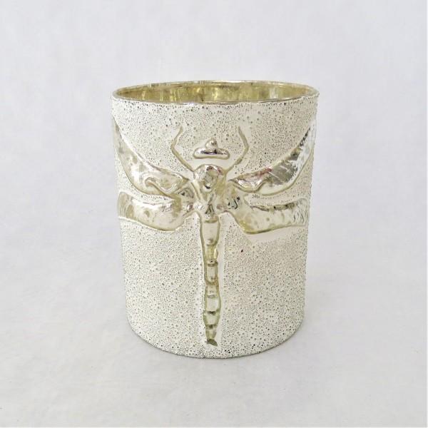 Windlicht Teelicht bell arte Libelle weiß Glas 13 x 10 cm