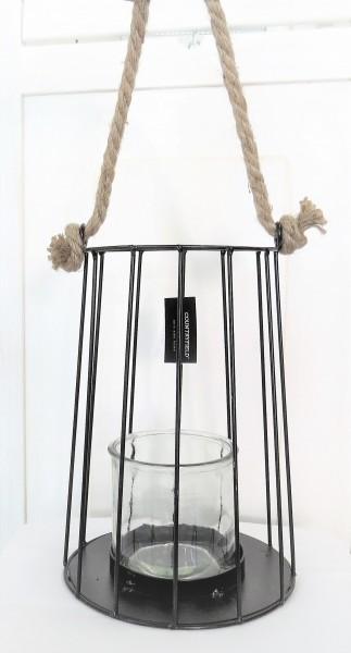Windlicht Laterne zum hängen Metall Glas schwarz 25*18 cm