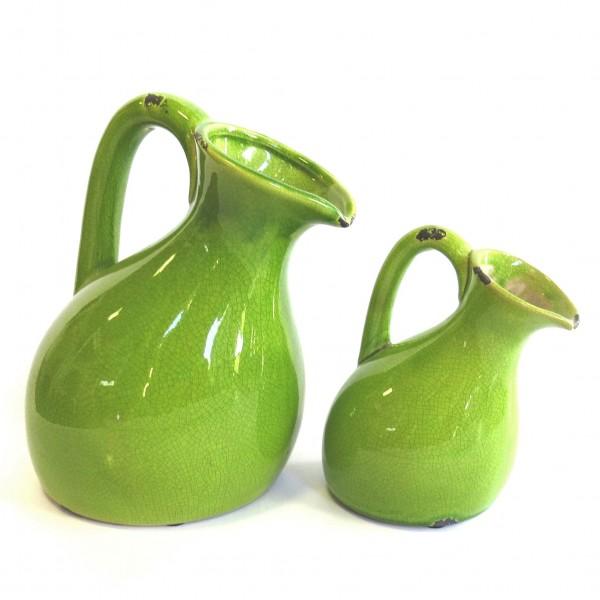Vase 2er Set Grün Antik Shabby Stil Retro Keramik Asymmetrisch 25 cm