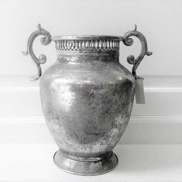 Vase Übertopf Deko Garten Topf Gefäß Blech silber 27 cm