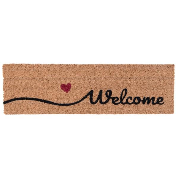 Fußmatte Tür Eingang Abstreifer Schmal Länglich Welcome Herz Rot Clayre & Eef