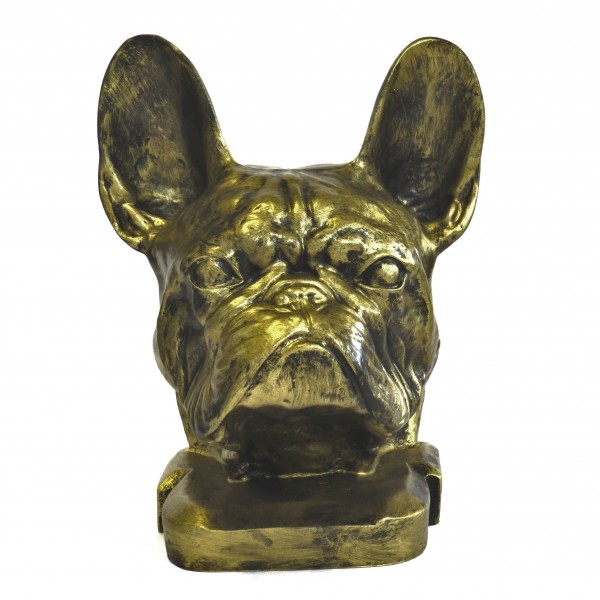 Statue Büste Hund Bulldogge Kopf Deko Gold 37 cm