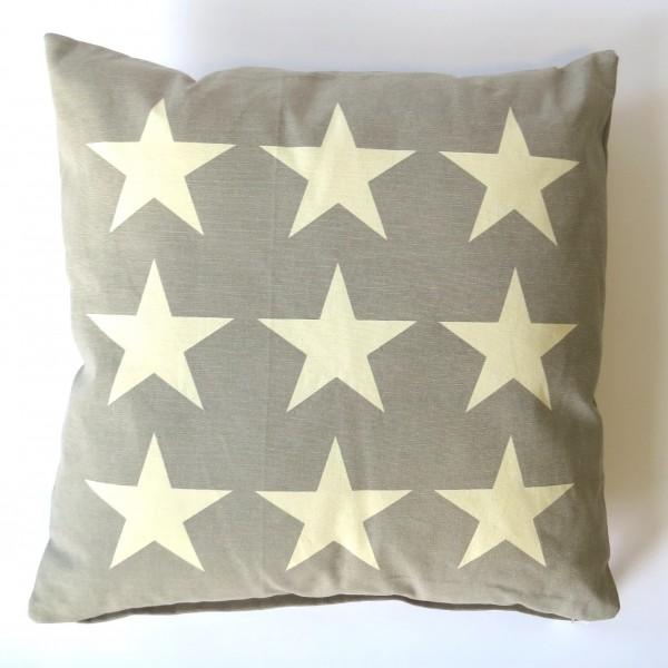 Kissen Deko Zier Sofa Sterne Beige Grau 50 x 50 cm Baumwolle Reißverschluss Clayre & Eef