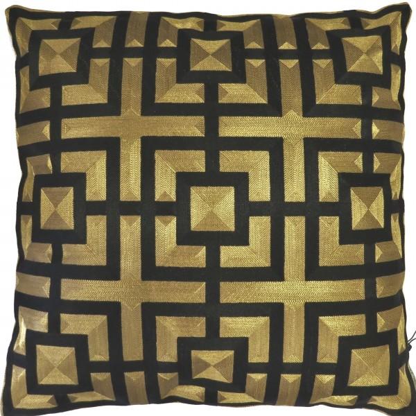 Kissen Deko Zier Gold Schwarz Geometrisch Muster 50 x 50 cm Colmore Luxus