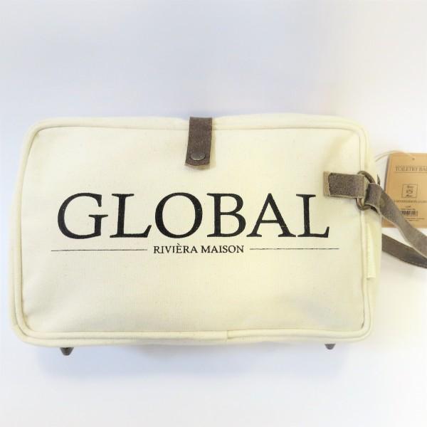 Riviera Maison Kosmetiktasche Toiletry Bag GLOBAL Reißverschluss Baumwolle