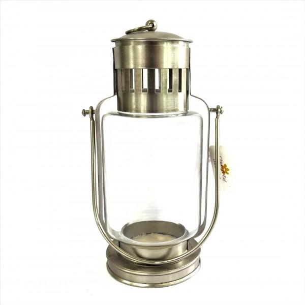 Windlicht Laterne Glas Eisen Silber Modern Garten Terrasse Clayre & Eef