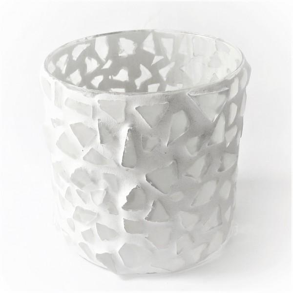 Colmore Windlicht Teelicht Glas maritim weiß Mosaik 16*16*15 cm